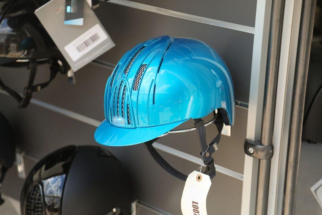 light blue horse riding helmet