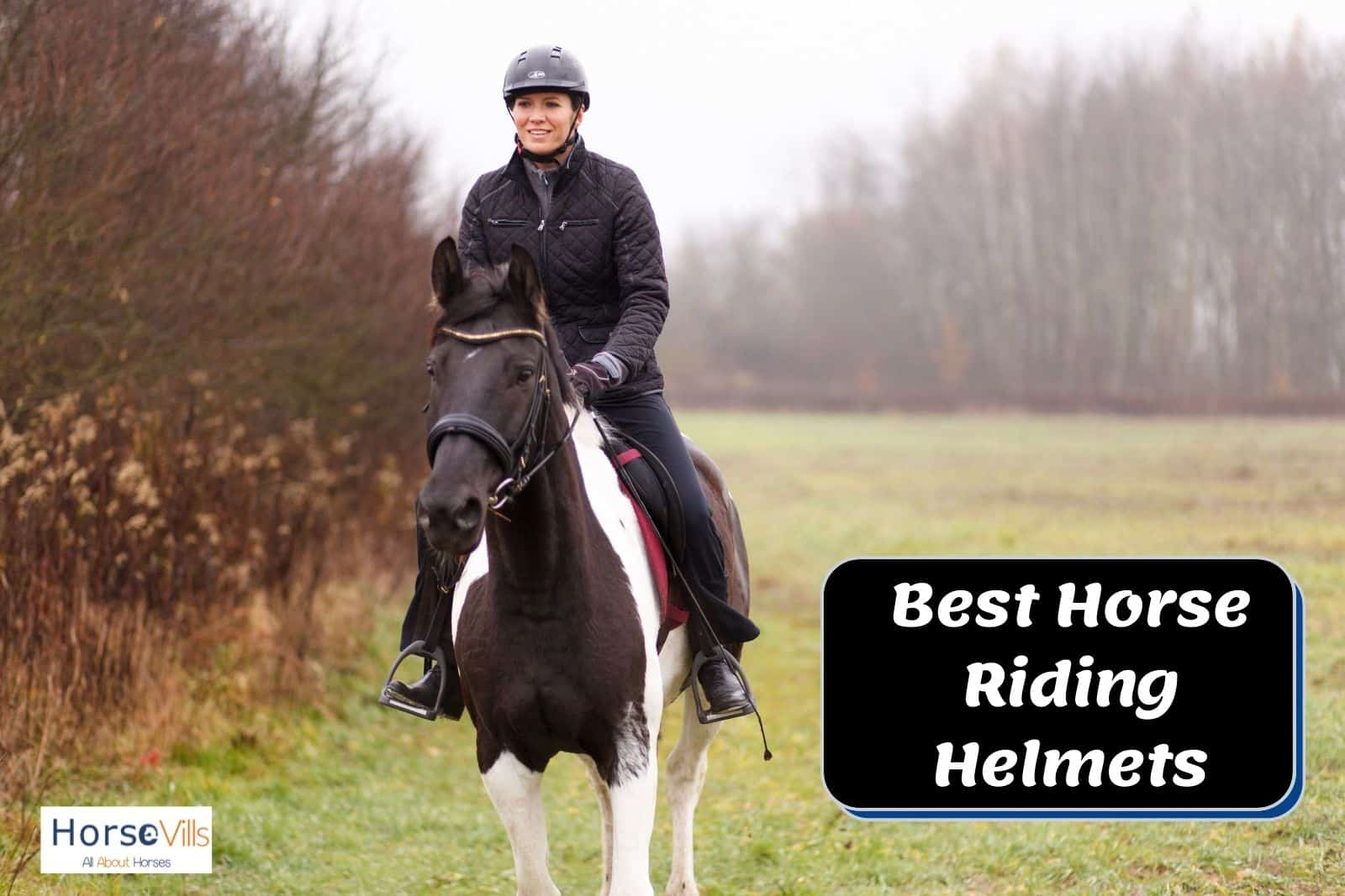 a lady riding a horse and wearing the best horse riding helmet