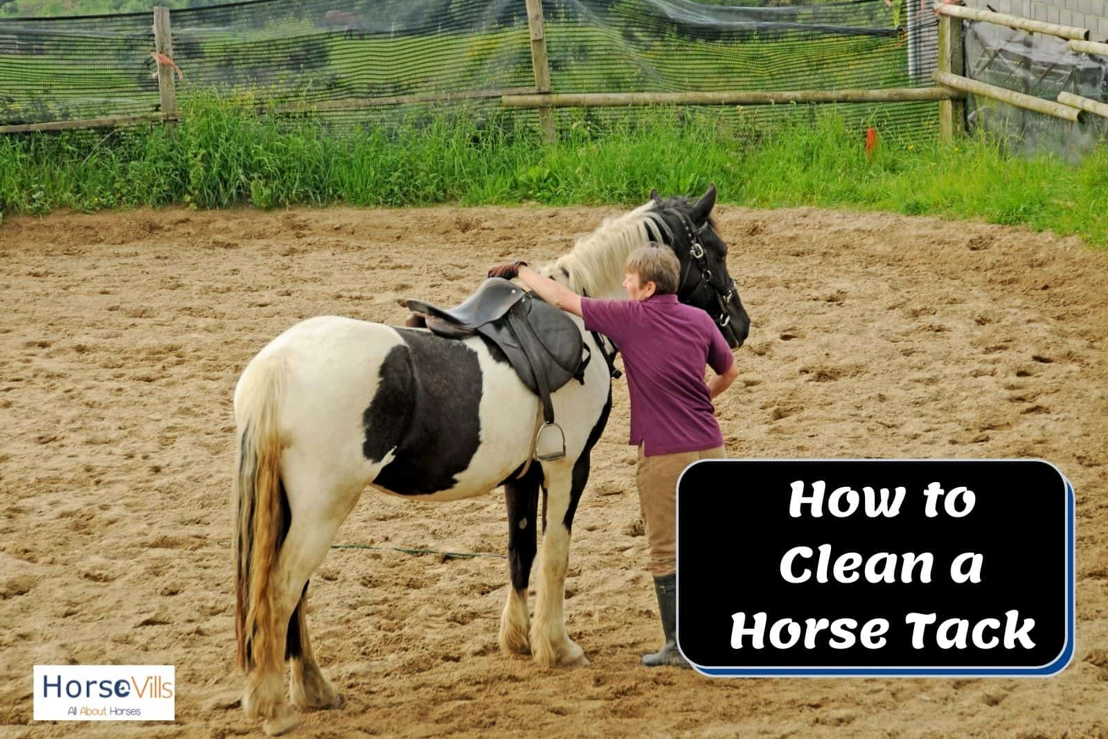 man in boots preparing to show how to clean a horse tack
