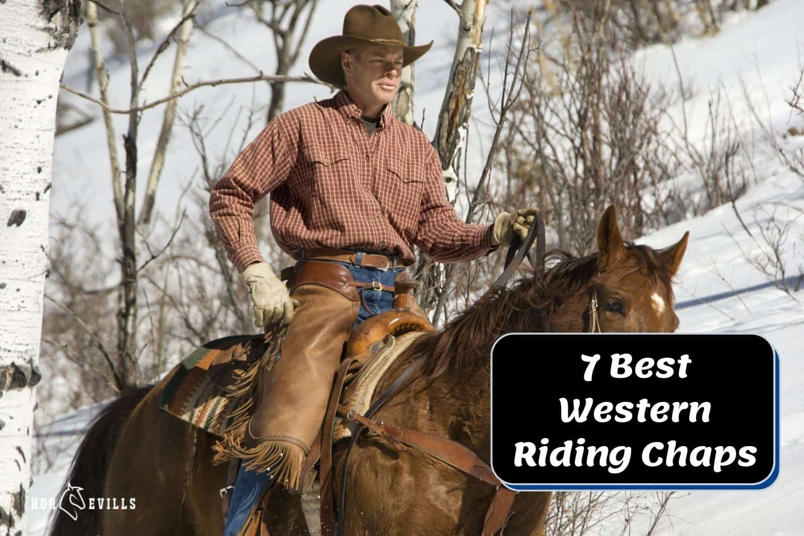 Rider wearing complete western riding gear including the best Western riding chaps