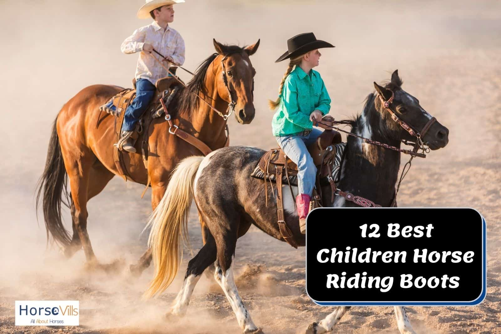 two kids riding a horse and wearing children horse riding boots