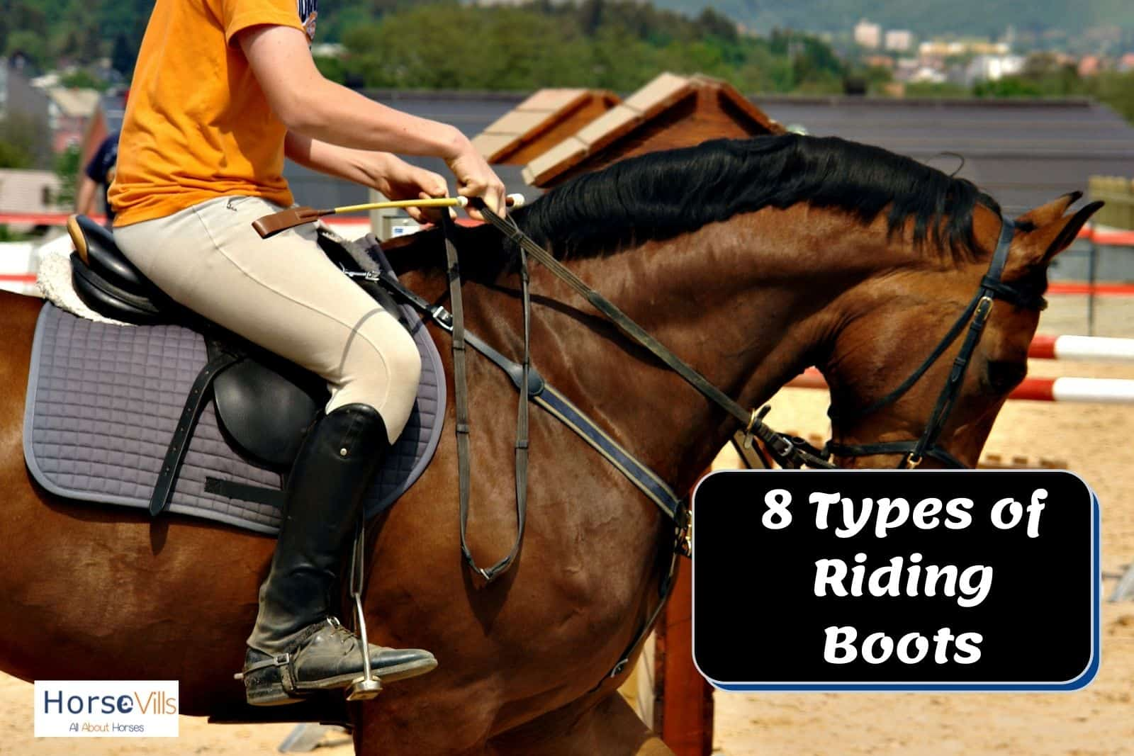 lady wearing tall boots while riding. it's one of the types of riding boots