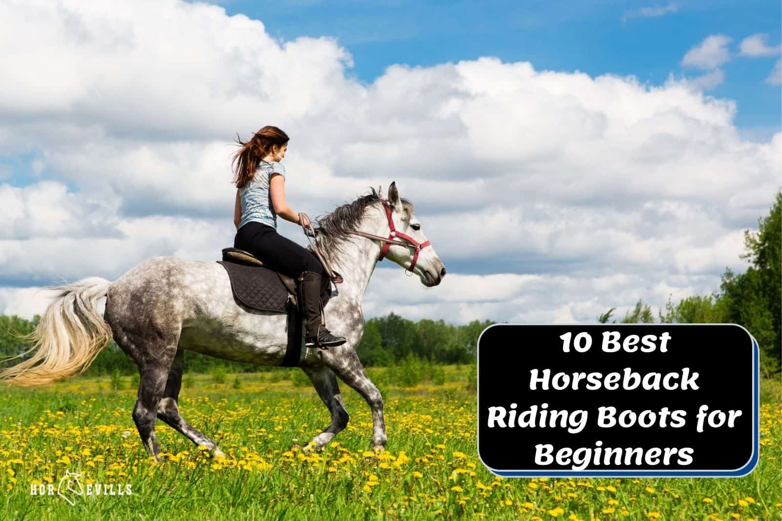 lady wearing horseback riding boots for beginners while riding a dappled grey horse