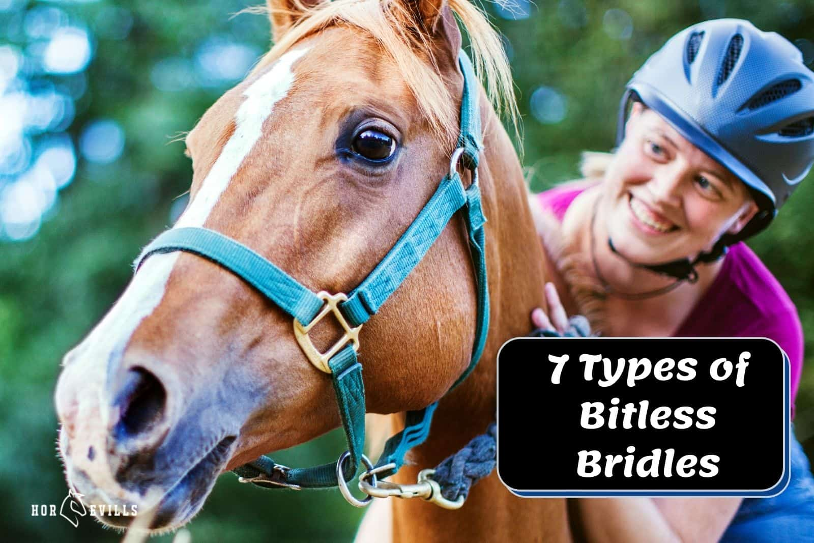 lady riding a horse wearing one of the bitless bridle types